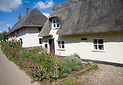 Attractive thatched cottages in the village of Rattlesden, Suffolk, England