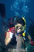 diver and spotted moray eel, Gymnothorax moringa, Islamorada, Florida Keys ( Western Atlantic Ocean ) Florida Keys National Marine Sanctuary MR 111
