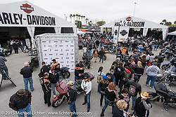 Harley-Davidson display at Daytona International Speedway on the first day of Daytona Beach Bike Week 2015. FL, USA. Saturday, March 7, 2015.  Photography ©2015 Michael Lichter.