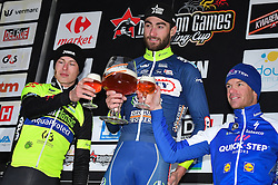 March 1, 2017 - Dour, BELGIUM - Luxembourgian Alex Kirsch of WB Veranclassic Aqua Protect, Belgian Guillaume Van Keirsbulck of Wanty-Groupe Gobert and Belgian Iljo Keisse of Quick-Step Floors celebrate on the podium after the 49th edition of the Grand Prix du Samyn cycling race, Wednesday 01 March 2017. The race starts in Quaregnon and ends in Dour (202,6km). The Grand Prix du Samyn is also the first round of the Napoleon Games Cup. BELGA PHOTO DAVID STOCKMAN (Credit Image: © David Stockman/Belga via ZUMA Press)