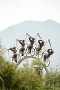 """Bicyclist sculpture in Parque Bicentenario in Santiago, Chile """"La Búsqueda"""" by Hernán Puelma"""