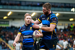 Worcester Scrum-Half Luke Baldwin celebrates with Lock Darren O'Shea after scoring Worcester's first try - Mandatory byline: Rogan Thomson/JMP - 16/01/2016 - RUGBY UNION - Sixways Stadium - Worcester, England - Worcester Warriors v Zebre Rugby - European Rugby Challenge Cup.