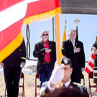 New Mexico governor Susana Martinez, right, stand with George Eisenbach and Gallup mayor Jackie McKinney during a dedication for a new veterans cemetery in Gallup Wednesday.