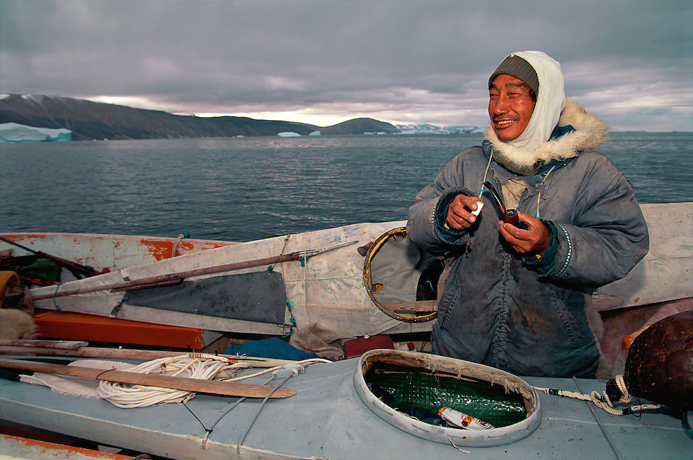 Inuit Narwhal hunter, Aiako Serkosoraq, Qaanaaq, <br /> NW Greenland