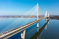 Aerial view from drone of Queensferry Crossing Bridge spanning Firth of Forth at South Queensferry, Scotland, UK