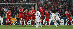 Athens, Greece - Wednesday, May 23, 2007: AC Milan's Filippo Inzaghi deflects the ball after Massimo Ambrosini takes a free kick during the UEFA Champions League Final at the OACA Spyro Louis Olympic Stadium. (Pic by Chris Ratcliffe/ Propaganda)