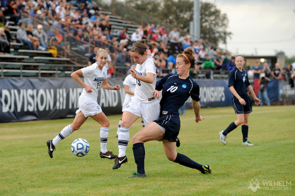 02 DEC 2011: Corrine Wulf (15) of Messiah College battles Keri Shannon (10) of Wheaton College during the Division III Women's Soccer Championship held at Blossom Soccer Stadium hosted by Trinity University in San Antonio, TX. Messiah defeated Wheaton 3-1 to win the national title. © Brett Wilhelm