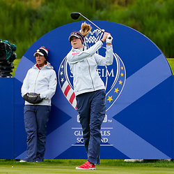 Auchterarder, Scotland, UK. 12 September 2019. Final practice day at 2019 Solheim Cup on Centenary Course at Gleneagles. Pictured; Nelly Korda of USA drives on 9th hole watched by Juli Inkster. Iain Masterton/Alamy Live News