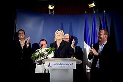 June 18, 2017 - Henin Beaumont, France, France - Marine Le Pen - candidate FN aux elections Legislatives .les deputes FN du Nord Ludovic Pajot - Bruno Bilde - Jose Evrard.Steeve Briois - Maire d Henin Beaumont (Credit Image: © Panoramic via ZUMA Press)