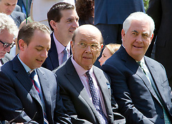 White House Chief of Staff Reince Priebus, United States Secretary of Commerce Wilbur Ross and US Secretary of State Rex Tillerson await the arrival of US President Donald J. Trump and King Abdullah II of Jordan ahead of a joint press conference in the Rose Garden of the White House in Washington, DC on Wednesday, April 5, 2017.<br /> Credit: Ron Sachs / CNP *** Please Use Credit from Credit Field ***