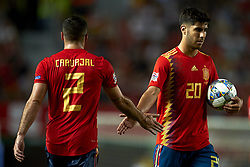 September 11, 2018 - Elche, Spain - Marco Asensio of Spain celebrates after scoring his sides first goal whit Dani Carvajal during the UEFA Nations League football match between Spain and Croatia at Martinez Valero Stadium in Elche, Spain on September 11, 2018. (Credit Image: © Jose Breton/NurPhoto/ZUMA Press)