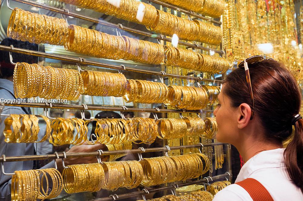 Window display of gold jewellery in Gold Souk in Deira Dubai United Arab Emirates