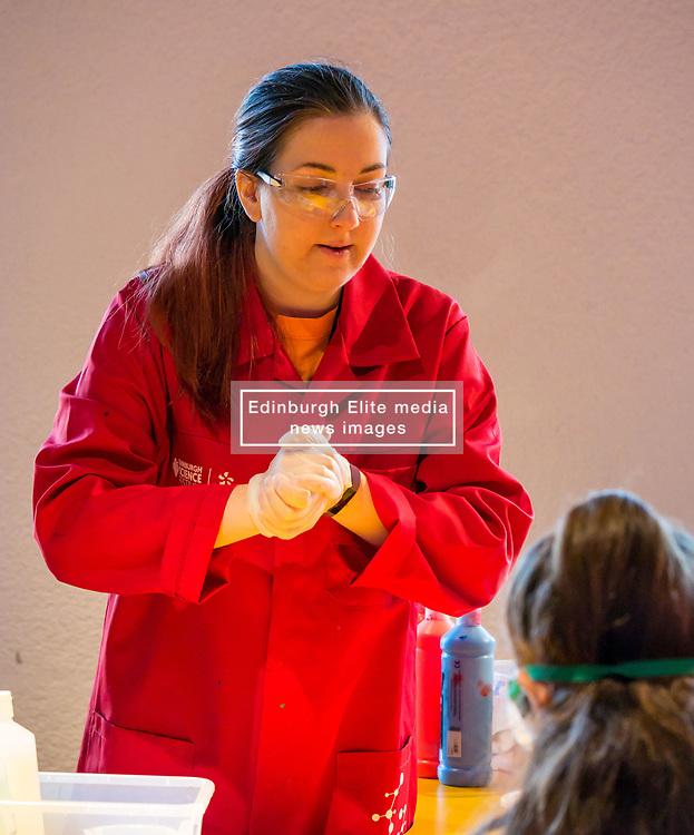 City Arts Centre, Edinburgh, Scotland, United Kingdom, 9 April 2019. Edinburgh Science Festival:  Science Communicator at Splat-Tastic chemistry goo workshop at the Science Festival. <br /> <br /> Sally Anderson | EdinburghElitemedia.co.uk