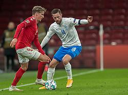 Jens Stryger Larsen (Danmark) og Gylfi Sigurdsson (Island) under kampen i Nations League mellem Danmark og Island den 15. november 2020 i Parken, København (Foto: Claus Birch).