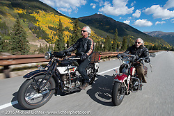 Doug Feinsod (L) riding his 1920 Henderson Deluxe with Dan Kraft on his 1934 Harley-Davidson VL on Colorado Highway 91 to Leadville during Stage 10 (278 miles) of the Motorcycle Cannonball Cross-Country Endurance Run, which on this day ran from Golden to Grand Junction, CO., USA. Monday, September 15, 2014.  Photography ©2014 Michael Lichter.