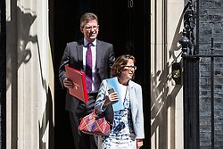 London, UK. 16 July, 2019. Baroness Evans of Bowes Park, Leader of the House of Lords and Lord Privy Seal, and Jeremy Wright QC MP, Secretary of State for Digital, Culture, Media and Sport, leave 10 Downing Street following a Cabinet meeting.