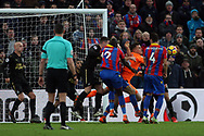 Karl Darlow , the goalkeeper of Newcastle United  (2R) punches the ball clear. Premier League match, Crystal Palace v Newcastle Uutd at Selhurst Park in London on Sunday 4th February 2018. pic by Steffan Bowen, Andrew Orchard sports photography.