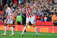 Peter Crouch of Stoke City (25) celebrates after scoring his teams 2nd goal to make it 2-2. Premier league match, Stoke City v Leicester City at the Bet365 Stadium in Stoke on Trent, Staffs on Saturday 4th November 2017.<br /> pic by Chris Stading, Andrew Orchard sports photography.