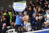 Charity fundraiser Speedo Mick in the stands prior to kick off. The Emirates FA cup, 3rd round match, Everton v Dagenham & Redbridge at Goodison Park in Liverpool on Saturday 9th January 2016.<br /> pic by Chris Stading, Andrew Orchard sports photography.