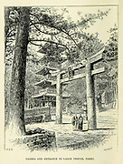 Pagoda and Entrance to Large Temple, Nikko frontispiece from the book ' Rambles in Japan : the land of the rising sun ' by Tristram, H. B. (Henry Baker), 1822-1906. Publication date 1895. Publisher New York : Revell