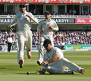 New Zealand Corey Anderson saves four runs during the first day of the Investec 1st Test  match between England and New Zealand at Lord's Cricket Ground, St John's Wood, United Kingdom on 21 May 2015. Photo by Ellie  Hoad.