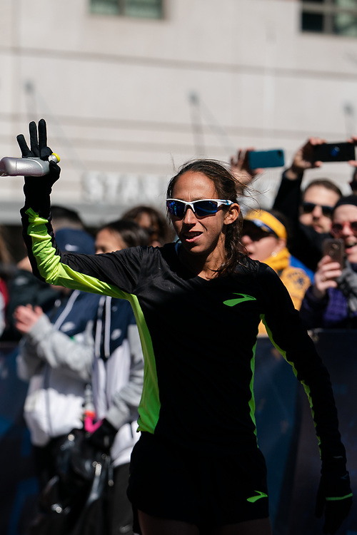 Des Linden is introduced prior to the 2020 U.S. Olympic marathon trials in Atlanta on Saturday, Feb. 20, 2020. Photo by Kevin D. Liles for The New York Times