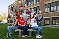 Laconia High School's Top Ten students.  (l-r on bench) Taylor Lovely, Lyndsey Paronto, Allyssa Miner and Teegan Stevens. (l-r middle row) Cheyanne Zappala, Gladiana Spitz, Colleen O'Brien and Simon Trieu.  (l-r back row) Sandro Bosnjak and Dalibor Kresovic.(Karen Bobotas/for the Laconia Daily Sun)