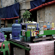 May 19, 2013 - Yangon, Myanmar: A juice stall, in central Yangon, marked with a sticker emblazoned with 969, the logo that has come to represent Myanmar's anti-Muslim movement. Taxis, buses, shop fronts and street stalls across the country display what some consider a symbol of Buddhist<br />