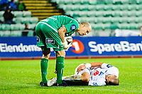 Fotball , Tippeligaen , Eliteserien<br /> 2. November 2014 ,<br /> Stabæk - Haugesund<br /> Hugesunds Dusan Cvetinovic nede for telling<br /> Foto: Sjur Stølen