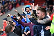 Doncaster fans celebrate their teams goal during the EFL Sky Bet League 1 match between Doncaster Rovers and Coventry City at the Keepmoat Stadium, Doncaster, England on 4 May 2019.