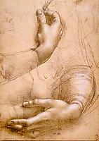 Royaume-Uni, Berkshire, Windsor, The Royal collection, Leonard de Vinci, Études de mains // United Kingdom, Berkshire, Windsor, The Royal collection, Leonardo da Vinci, Studies of hands