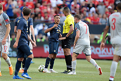 July 28, 2018 - Ann Arbor, Michigan, United States - Alexi Sanchez (7) of Manchester United argues with a referee during an International Champions Cup match between Manchester United and Liverpool at Michigan Stadium in Ann Arbor, Michigan USA, on Wednesday, July 28,  2018. (Credit Image: © Amy Lemus/NurPhoto via ZUMA Press)