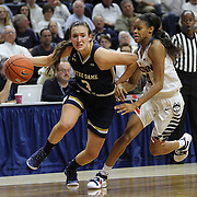 Marina Mabrey, (left), Notre Dame, drives past Moriah Jefferson, UConn, during the Notre Dame Vs UConn Women's Basketball game at Grampel Pavilion, Storrs, Connecticut, USA. 5th December 2015. Photo Tim Clayton
