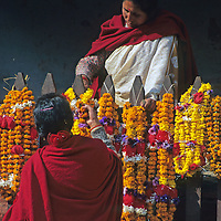 Asia, Nepal, Bhaktapur. Marigold offerings at the temples of Bhaktapur.