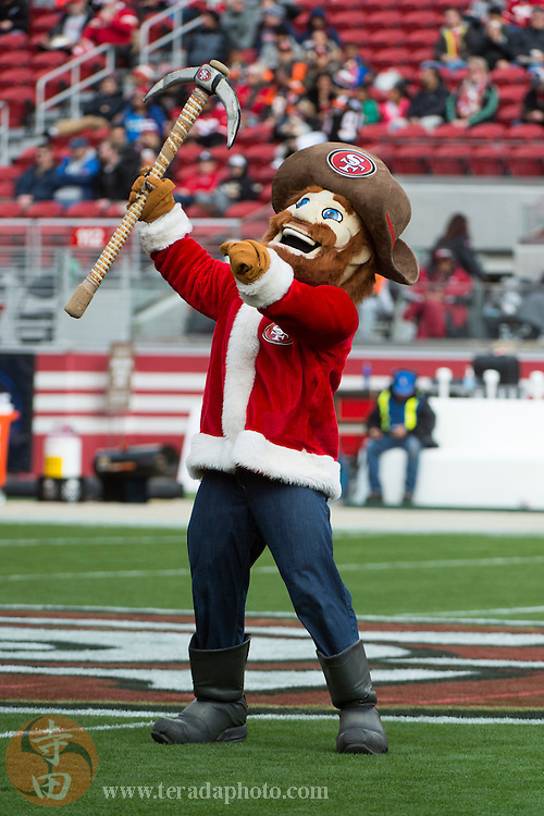 December 20, 2015; Santa Clara, CA, USA; San Francisco 49ers mascot Sourdough Sam performs in a Santa outfit before the game against the Cincinnati Bengals at Levi's Stadium. The 49ers defeated the Bengals 24-14.