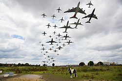 © Licensed to London News Pictures. 21/07/2017. London, UK. All 49 aircraft that took of from Heathrow's southern runway in one hour from 13:40 to 14:40 hours are shown together in this combination image. Today is the busiest day in UK air traffic history with 8,800 flights leaving or entering UK airspace. Photo credit: Peter Macdiarmid/LNP