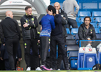 Football - 2016/2017 Premier League - Chelsea V Manchester United<br /> <br /> Manchester United Manager Jose Mourinho gives ex colleague Willian of Chelsea a hug at Stamford Bridge.<br /> <br /> COLORSPORT/DANIEL BEARHAM