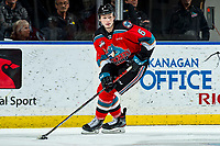 KELOWNA, BC - MARCH 11: Kaedan Korczak #6 of the Kelowna Rockets skates with the puck against the Victoria Royals at Prospera Place on March 11, 2020 in Kelowna, Canada. Korczak was selected in the 2019 NHL entry draft by the Vegas Golden Knights. (Photo by Marissa Baecker/Shoot the Breeze)