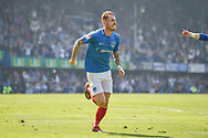 Portsmouth Midfielder, Tom Naylor (7) celebrates after scoring a goal to make it 1-1 during the EFL Sky Bet League 1 match between Portsmouth and Coventry City at Fratton Park, Portsmouth, England on 22 April 2019.