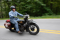 Kelly Modlin riding his 1928 Indian in the Motorcycle Cannonball coast to coast vintage run. Stage-1 (145-miles) from Portland, Maine to Keene, NH. Saturday September 8, 2018. Photography ©2018 Michael Lichter.