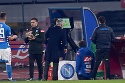 December 29, 2018 - Naples, Naples, Italy - Head Coach of SSC Napoli Carlo Ancelotti looking at the VAR during the Serie A TIM match between SSC Napoli and Bologna FC at Stadio San Paolo Naples Italy on 29 December 2018. (Credit Image: © Franco Romano/NurPhoto via ZUMA Press)