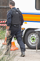 ©Licensed to London News Pictures 09/09/2020  <br /> Orpington, UK. Armed police on site. Armed police have raided a travellers site in Orpington, South East London. Several hundred officers raided the site in the middle of the night and arrested people believed to be involved in supplying criminal gangs with firearms. Photo credit:LNP