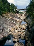 Imatrankoski HEP dam power station, Imatra Rapids, Vuoksi River, before water released dry river channel, Imatra, Finland 1973