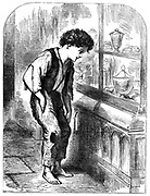 London Street Arab, shoeless and in rags, looking longingly at the sweets in a confectioner's window.  From 'Le Voleur' Paris 1883. Wood engraving.