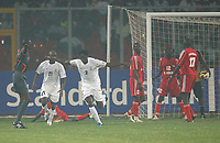 Photo: Steve Bond/Richard Lane Photography.<br />Sudan v Zambia. Africa Cup of Nations. 22/01/2008. Jacob Mulenga (third from L) wheels away after scoring Zambia's second