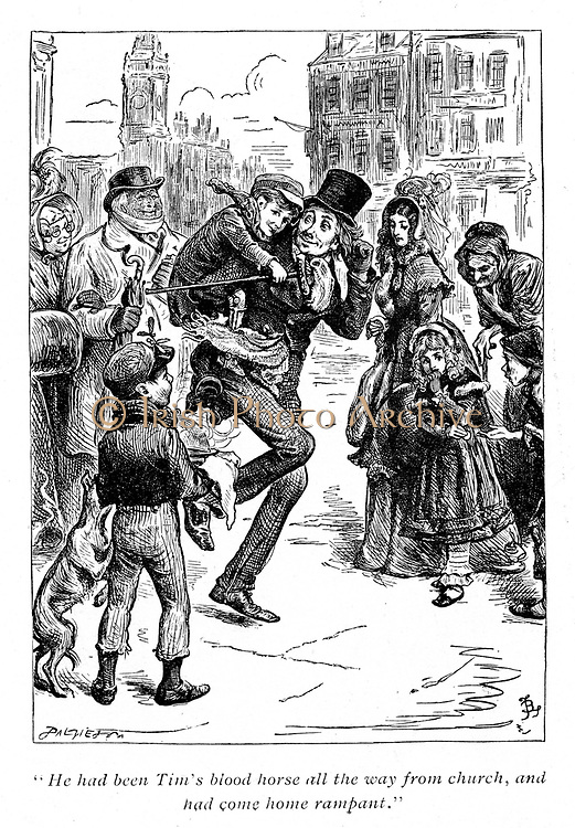 Illustration for 'A Christmas Carol' Charles Dickens (1812-1870). Bob Cratchet carries tiny Tim on his shoulders