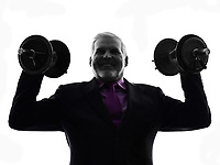 One Caucasian Senior Business Man holding weights Silhouette White Background