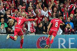 September 1, 2017 - Copenhagen, Denmark - Nicolai Jorgensen (DEN) celebrates a goal during the FIFA 2018 World Cup Qualifier between Denmark and Poland at Parken Stadion on September 1, 2017 in Copenhagen. (Credit Image: © Foto Olimpik/NurPhoto via ZUMA Press)