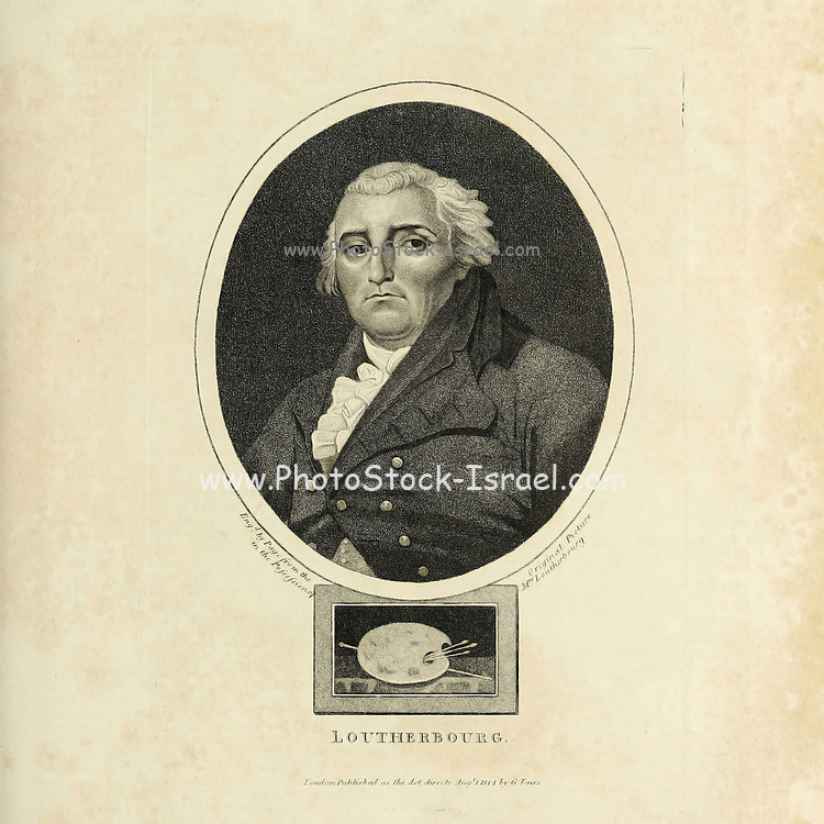 """Portrait of Philip James de Loutherbourg RA (31 October 1740 – 11 March 1812) . A French-born British painter who became known for his large naval works, his elaborate set designs for London theatres, and his invention of a mechanical theatre called the """"Eidophusikon"""". He also had an interest in faith-healing and the occult. Copperplate engraving From the Encyclopaedia Londinensis or, Universal dictionary of arts, sciences, and literature; Volume XIII;  Edited by Wilkes, John. Published in London in 1815"""