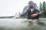 On a warm, wet June day Pat Bogdan releases a bright BC chinook.